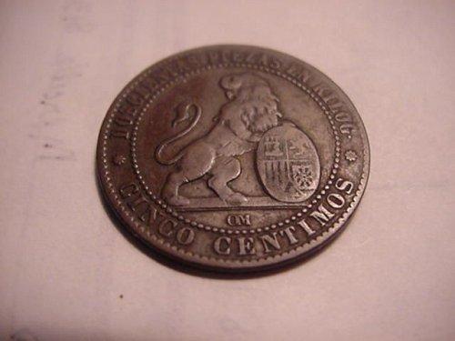 1870 spain 5 centesimos
