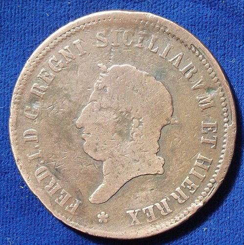 1819 Italian States NAPLES 10 Tornesi FAIR