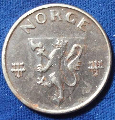 1943 Norway 5 Ore VF
