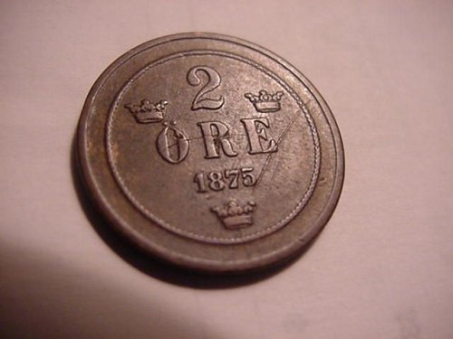 1875 sweden  2 ore
