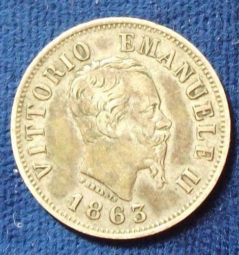 1863 M BN Italy 50 Centesimi VF