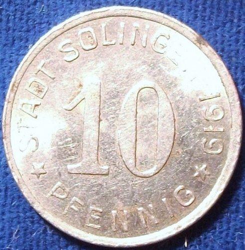 1919 Stat Solingen 10 Pfennig Notgeld AU