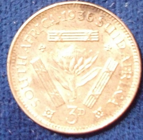 1936 South Africa Threepence UNC