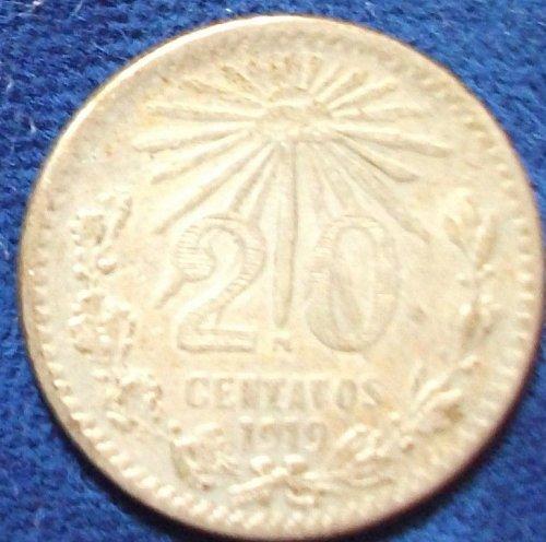 1919 Mexico 20 Centavos VF