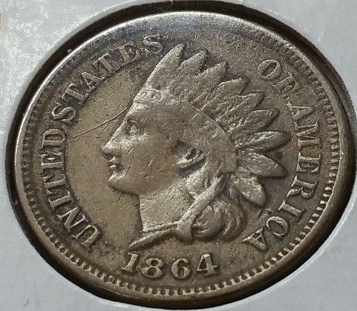 1864 P Indian Head Cent ~ Copper Nickel - Fine