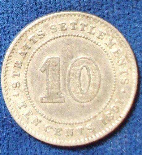 1891 Straits Settlements 10 Cents VF