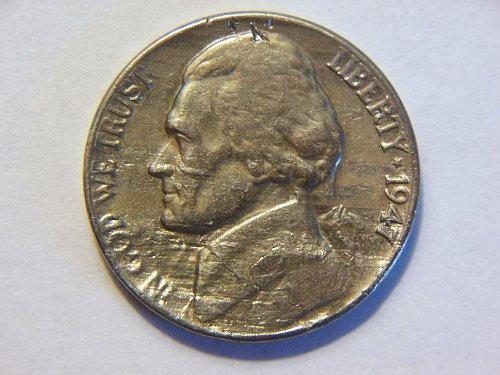 1947-P Jefferson Nickel Lamination/Die Clash Error Coin
