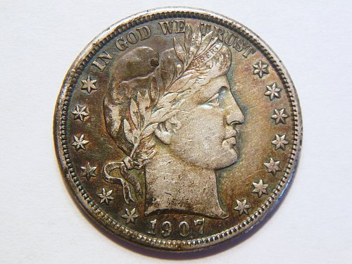 1907-O *Toned* Silver Barber Half Dollar