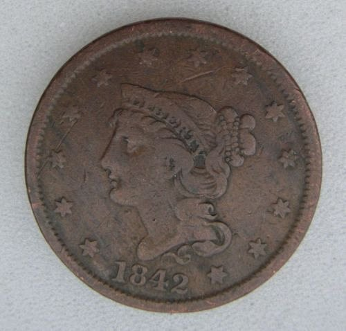1842 usa large cent