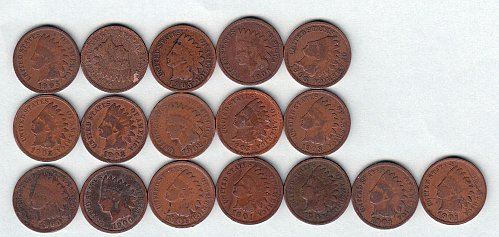Indian Head Collection: 25 coins from 1881-1903