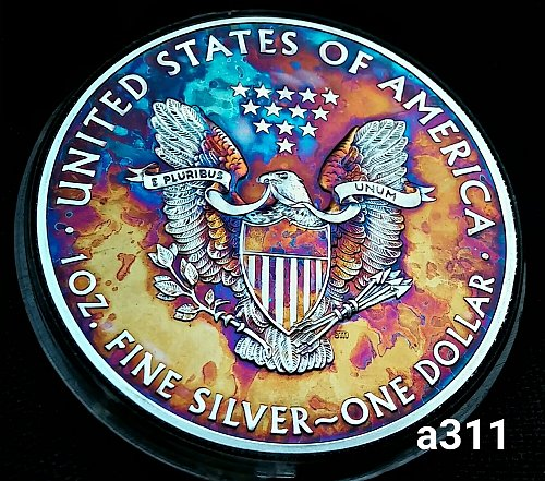 2015 Rainbow Toned Silver American Eagle 1 troy ounce silver #a311