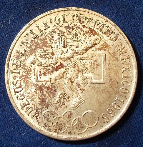 1968 Mexico 25 Pesos AU,Silver
