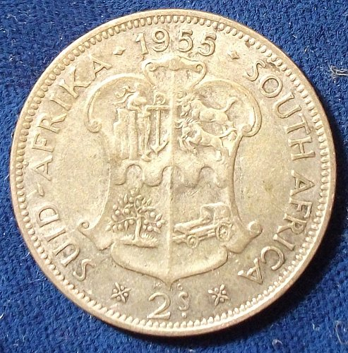 1955 South Africa 2 1/2 Shillings VF+