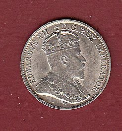 Canadian: 1910   Edward VII Nickel  AU-55  /   MC33