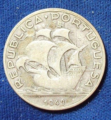 1943 Portugal 5 Escudos F-VF