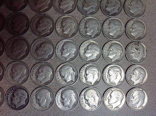 Roosevelt Dimes (49) all 1951s   /MC-34