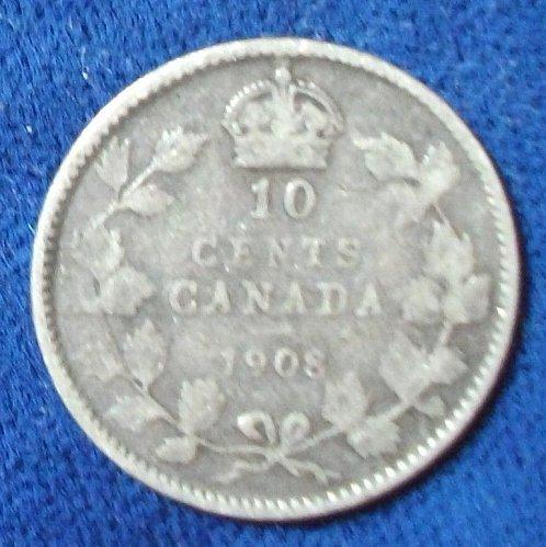 1908 Canada 10 Cents Good