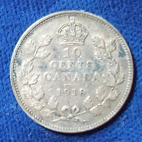 1918 Canada 10 Cents XF