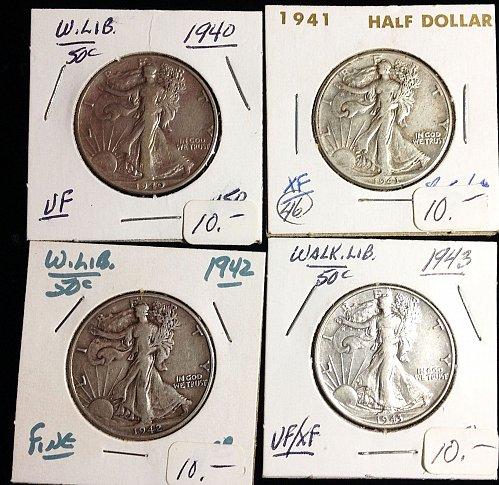 Walking Liberty Half Dollars: 1940,41,42.43.      / MC-35