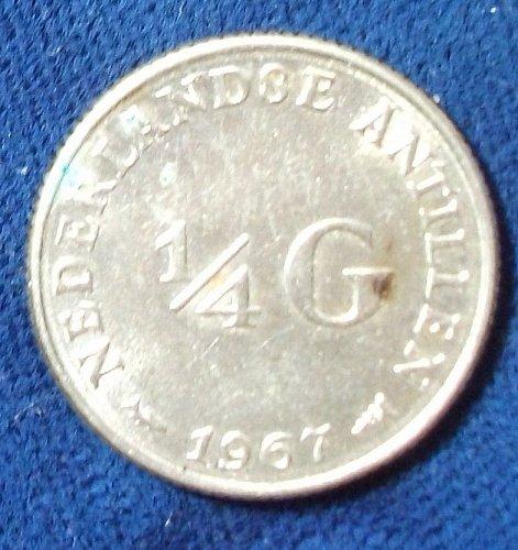 1967 Netherlands Antilles 1/4 Gulden AU