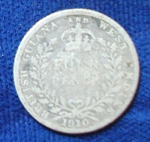 1910 British Guiana 4 Pence Good