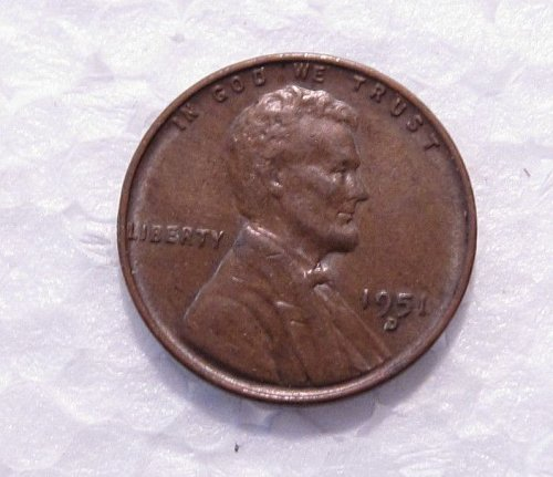 1951 D LINCOLN WHEAT CENT D OVER S  D/S  OMM # 1