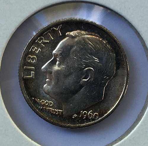 1960 P Roosevelt Dime From Roll BU/MS Toned