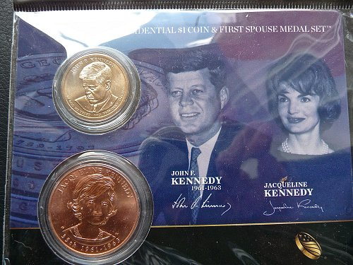 President Kennedy $1 coin & First Spouse Medal Set