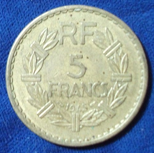 1945 France (For Colonial Use in Africa) 5 Francs XF