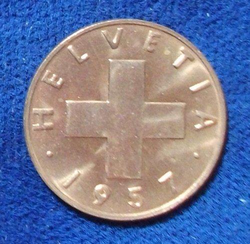 1957 Switzerland Rappen BU