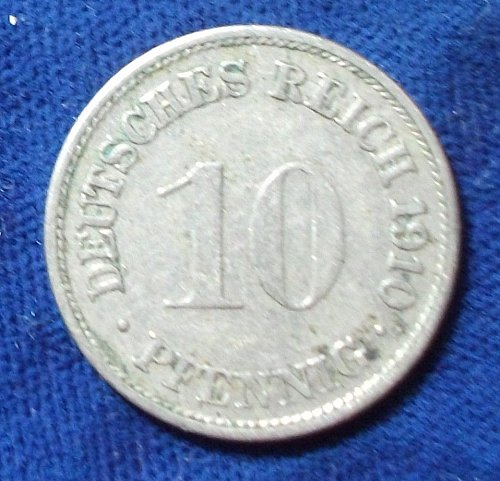 1910F Germany/Empire 10 Pfennig VF