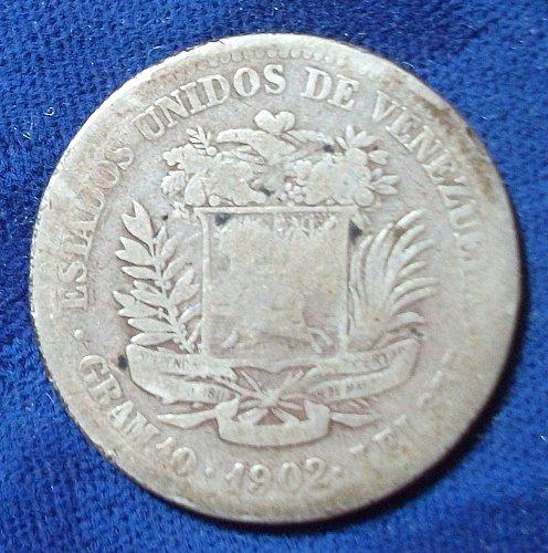 1902 Venezuela 2 Bolivares Good
