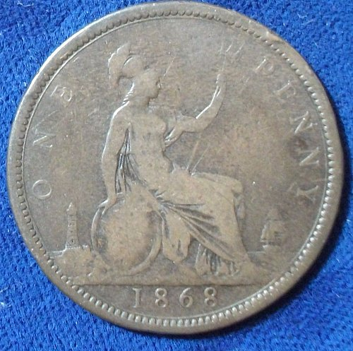1868 Great Britain Penny VG