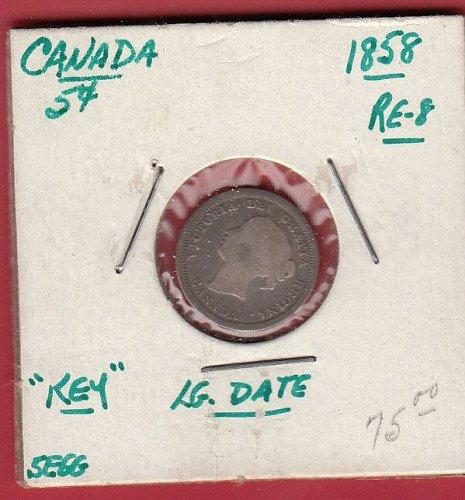 Canadian- 1858    5 cent Piece ( nickel ) : G4    /  MC-44