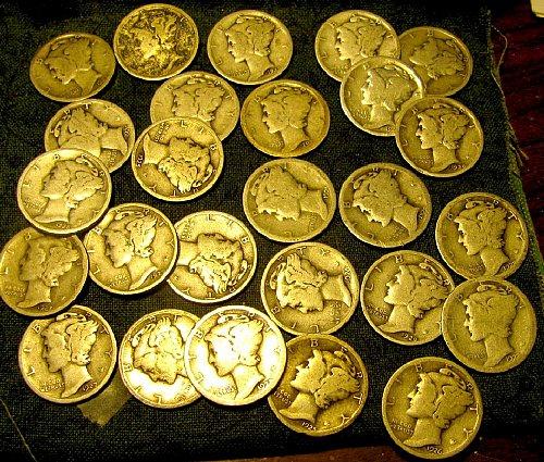 27  mercury Dimes ,mixed dates/mints!ONLY $1.33 ea.PLUS 5-1930's DIMES FREE/A-65