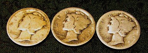 Silver mercury Dimes 1917 P, D, & S   Last Chance!!  A-64