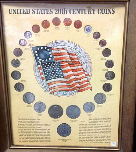 Framed Presentation:U.S. Coins of 20th Century. 24 coins / MC-47