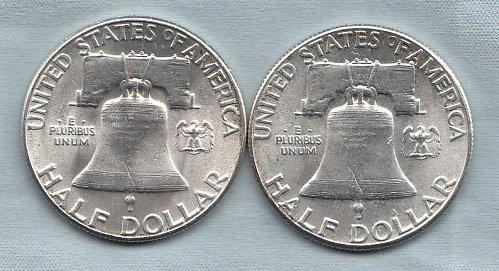 Franklin Half Dollars (2) Type 1 reverse.  / MC-48