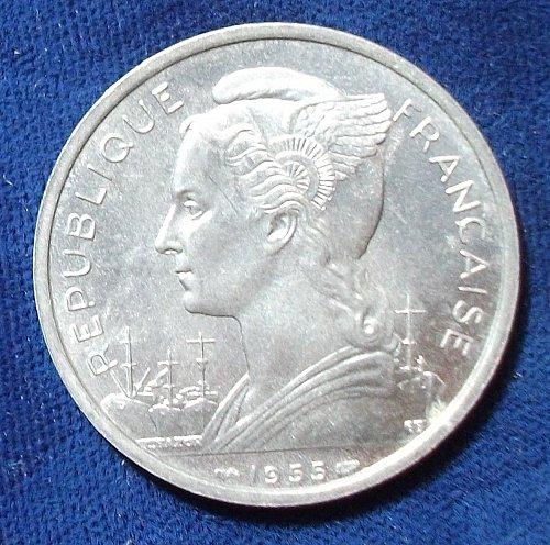 1955 Reunion 5 Francs BU