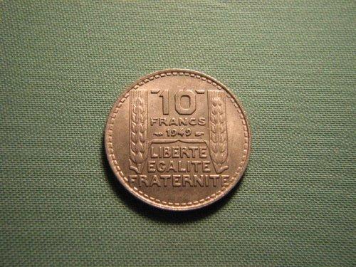 France 1949 10 francs coin
