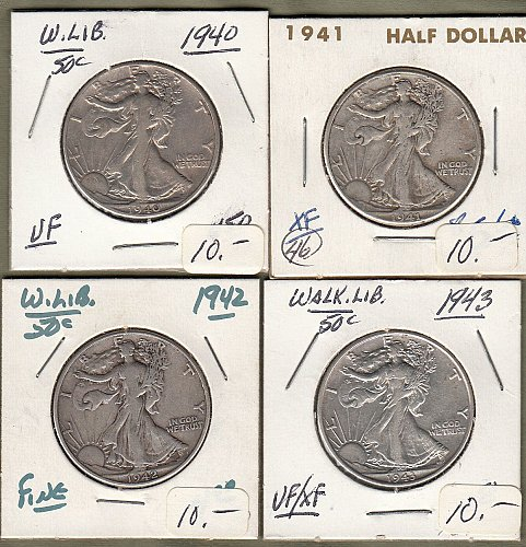 Walking Liberty Half Dollars: 1940,41,42.43.      / MC-35