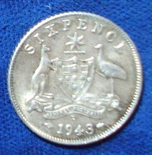 1943D Australia Sixpence UNC