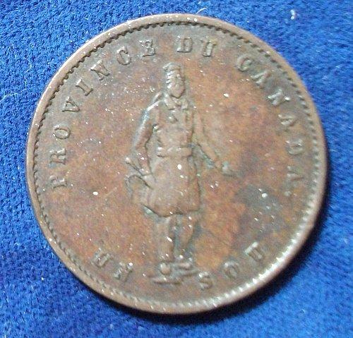1852 Quebec Bank Token Halfpenny/Un Sou VF