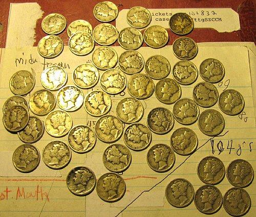 50 mercury Dimes 30's &5 x 40's right corner C-01 + 3- 1930's diff. dates FREE D