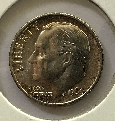 1960 P Roosevelt Dime From Roll BU/MS - End Of The Roll Coin