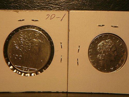 2-gem italy coins 1972  L100,1979  L50