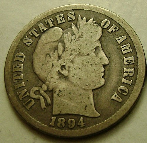 1894 VG Very Good Barber Dime Free Shipping