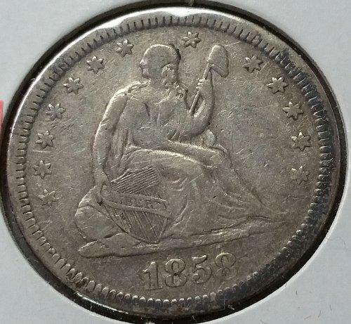 1858 Seated Liberty Quarter ~ VF