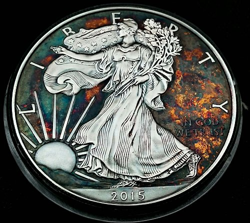 2015 Rainbow Toned Silver American Eagle 1 troy ounce silver #a315