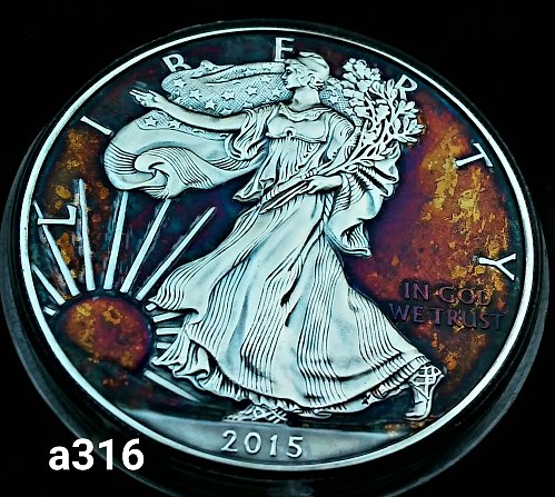 2015 Rainbow Toned Silver American Eagle 1 troy ounce silver #a316